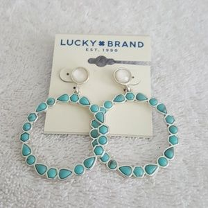 New Lucky Brand Silver Turquoise Hoop Earrings